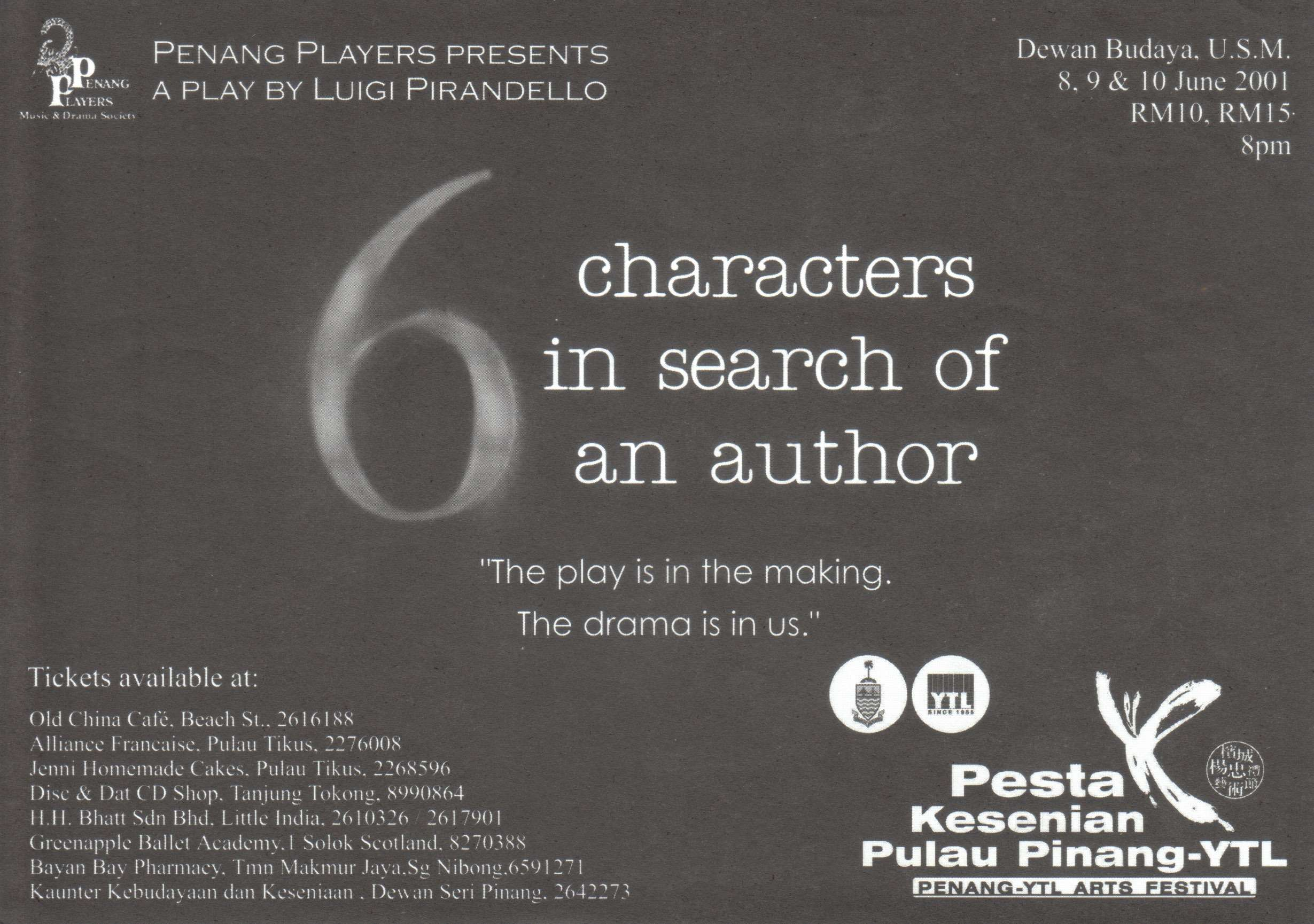 6 Characters In Search Of An Author Flyer